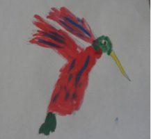 Colibri dessiné par un enfant du patronage